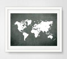 Grey world map print, grey world map poster, grey world map, grey wall prints, grey decor, office decor, travel decor