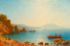 MORGENSTERN, CARL(1811 Frankfurt 1893)Blick auf Neapel und den Vesuv. 1847.