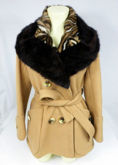 79.19$  Watch here - http://vihdq.justgood.pw/vig/item.php?t=a26dq0f0496 - Womens XS Vintage Tan Wool Peacoat w Dyed Mink Fur Trim Sewn On Cute! 79.19$