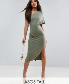 Find the best selection of ASOS TALL Deep One Shoulder Midi Bodycon Dress. Shop today with free delivery and returns (Ts&Cs apply) with ASOS! Tall Clothing, Tall Women, Green Dress, Dresses For Work, Mini Dresses, Dress To Impress, Beautiful Dresses, Asos, One Shoulder