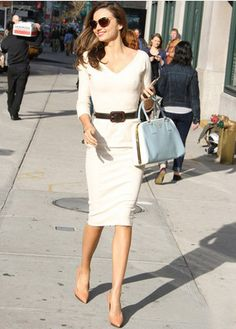 Victoria Beckham style, White Long Ziper back Stretch Cotton Pencil Dress 1290