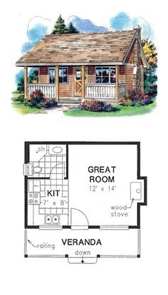 House Plan 58559 - Country Style House Plan with 300 Sq Ft One Room Cabins, Tiny Cabins, Tiny House Cabin, Tiny House Living, Tiny House Design, Cottage House, Tree House Plans, Best House Plans, Small House Plans