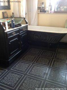 Use Royal Design Studio tile stencils for a stenciled floor design