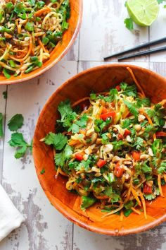 Veggie Pad Thai Zoodles with Peanut Dressing | www.asaucykitchen.com