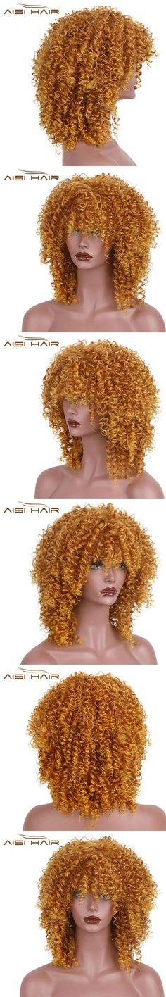 """I's a wig 14""""Golden Brown Black Blonde Red Wig Afro Curly Synthetic Wigs Short Hair for Black Women African Hairstyle"""