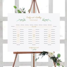 """Banquet Seating Plan, Long Tables Table Plan Printable Template with or without table-end guests, """"Greenery"""" 18x24"""", A2 sizes, Editable PDF"""