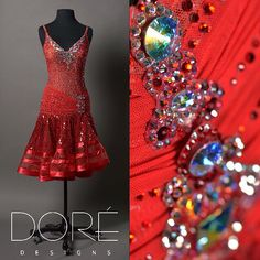 Red Latin with Sequin Fringe and Swing Skirt  #ballroom #dancewear #dancesport #dore