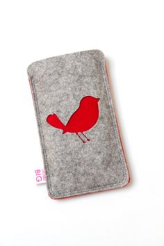 Cuuute felt iPhone cover.  Cell phone case made to fit your Iphone or other by StudioBIG