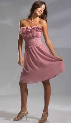 Pretty Maids Short Chiffon Bridesmaid Dress with Flower Neckline 22391 at frenchnovelty.com