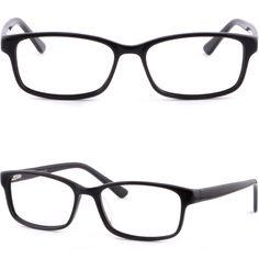 Shiny Black Acetate Plastic Women Frame Prescription Glasses Spring Loaded Hinge #Unbranded