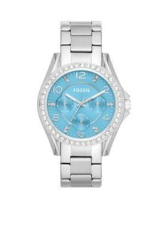 Fossil  Womens Stainless Steel Multifunction Riley Glitz Watch