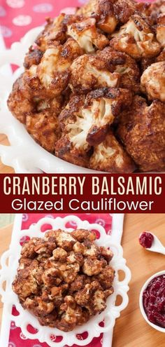 Cranberry Balsamic Glazed Cauliflower Wings - with just a handful of ingredients, you'll have these sweet and sticky baked bites in and out of the oven in no time. Perfect for snacking the day after Thanksgiving when you need to use up that last bit of cranberry sauce, or alongside your favorite fall meals, everyone will love the tangy flavors in this gluten free and vegan recipe! Wing Recipes, Side Dish Recipes, Veggie Recipes, Fall Recipes, Vegetarian Recipes, Side Dishes, Snack Recipes, Gluten Free Appetizers, Yummy Appetizers