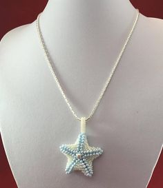 Beaded Starfish Necklace, Ladies Necklace, Silver Plated Necklace, Gifts for Women, Beaded Starfish, Valentines Day Gift, Birthday Gift