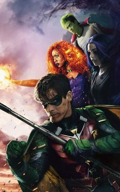 "Wallpaper for ""Titans"" Dc Comics Heroes, Marvel Dc Comics, Titans Tv Series, Comic Book Wallpaper, Dc World, Batman Artwork, Netflix, Evil Villains, Superhero Design"