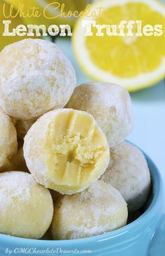 LEMON TRUFFLES White Chocolate, butter, lemon extract and sweet sour cream! Do you have any idea what to do with these ingredients? Don't try too hard! The best thing you can do with these four ingredients are White Chocolate Lemon Truffles Lemon Desserts, Lemon Recipes, Just Desserts, Sweet Recipes, Delicious Desserts, Yummy Food, Healthy Food, Candy Recipes, Dessert Recipes