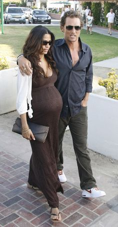 ok...don't let matthew distract you. a pregnant camilla looks fab in a maternity maxi dress.