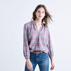 Rivet & Thread Gathered-Collar Shirt in Avery Plaid