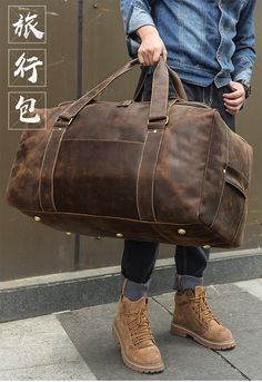 "Men Travel Bag Duffle Large Capability Genuine Leather 27"" Weekend Bags Man Tote Business Vintage Designer Handbag Bag Mens Weekend Bag, Weekend Bags, Duffle Bag Travel, Travel Bags, Men's Totes, Mendoza, Business, Leather, Vintage"
