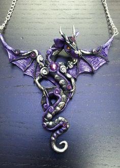 Purple and Black Dragon Pendant by MakoslaCreations on Etsy, $42.00