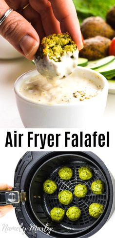 This crispy Air Fryer Falafel recipe creates healthy falafel thats lower in fat and perfect for a plant-based Mediterranean diet! Its easy to make air fried falafel and this post will show you how. See post tips for making vegan gluten free falafel. Air Fryer Recipes Snacks, Air Fry Recipes, Vegan Recipes, Cooking Recipes, Cooking Tips, Air Fryer Recipes Gluten Free, Food Tips, Falafels, Vegetarian Snacks