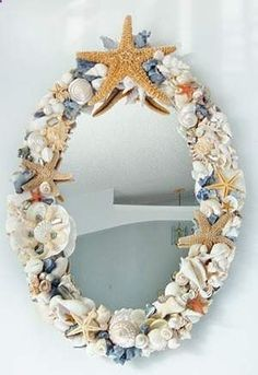 A Mermaids Treasure, Large Seashell Mirror / Large Seashell Mirrors / Shell Decor > Beautiful, decorated Sea Shell and Seashell Mirrors.