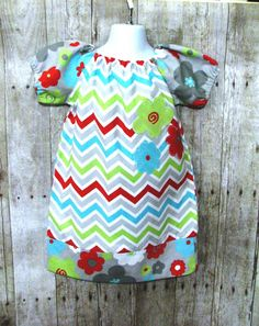 Girls Chevron Peasant Dress Size 3 Ready to Ship by DressSparkle, $34.99