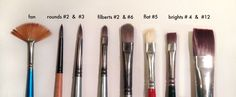 What exactly do you need in your painting tool box? We& walk you through the basic types and shapes of oil paint brushes and the effects they create. Simple Oil Painting, Oil Painting Tips, Oil Painting For Beginners, Acrylic Painting Tutorials, Painting Videos, Wreath Watercolor, Watercolor Sketch, Watercolor Paintings, Painting Abstract