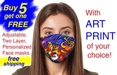 Adjustable, Two Layer Breathable Face mask, with my Art Print of your choice, Reusable Machine Washable US Brand, Cotton inner layer Jazz Painting, Music Canvas, Face Mask Set, Artist Signatures, Printing Companies, Jazz Music, Ship Art, Conceptual Art, Abstract Canvas