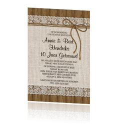 Rustieke jubileumuitnodiging 10 jaar met hout kant en jute