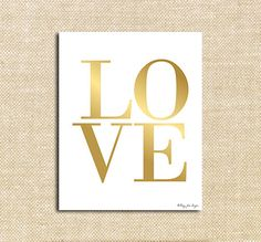 Gold Love Digital Printable | Instant Download Print for Wall Decor DIY Nursery Decoration or Gift