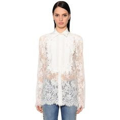 Ermanno Scervino Women Flowers Lace & Crepe De Chine Shirt (€1.185) ❤ liked on Polyvore featuring tops, offwhite, lacy tops, lace shirt, embroidery lace top, flower shirt and off white lace top