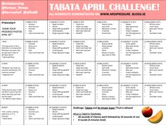Tabata Workouts | See the calendars from past monthly challenges to get up and get ...