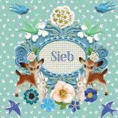 Geboortekaartje Sieb - lieve retro collage met hertjes en vogeltjes - www.petitkonijn.nl