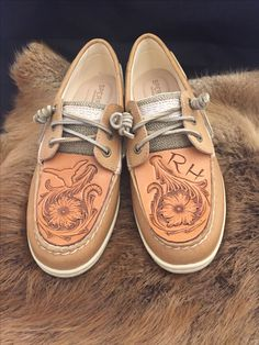 Hand tooled Sperry's by Anne Martinez Custom Leather @martinezcustomleather.com