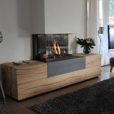 Atmospheric three-sided gas fireplace : Atmospheric three-sided gas fireplace # - ALL HOME DECOR Fireplace Logs, Ethanol Fireplace, Fireplace Screens, Modern Fireplace, Living Room With Fireplace, Fireplace Design, Fireplace Kitchen, Log Burner, Front Rooms