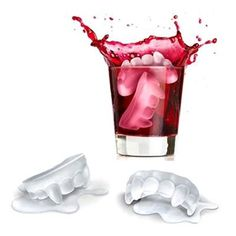 Kostki lodu w kształcie kłów wampira. / Ice cubes in the shape of vampire fangs. Creppy & funny.