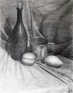 Value Drawing, Shading Drawing, Drawing Poses, Drawing Sketches, Sketching, Still Life Sketch, Still Life Drawing, Still Life Art, Academic Drawing