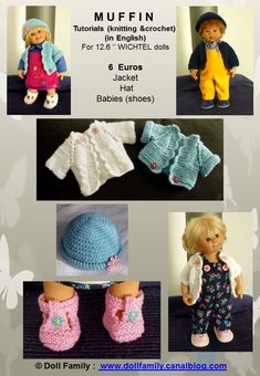 M U F F I N Tutorials (knitting &crochet) (in English) - PDF files sent by e-mail For '' WICHTEL dolls 6 Euros Jacket Hat Babies (shoes) Please note : patterns of the pictured coordinated outfits (sewing) can be ordered under the name Knit Crochet, Crochet Hats, Baby Bonnets, Baby Hats, Cube, Dolls, Sewing, Knitting, Pixies