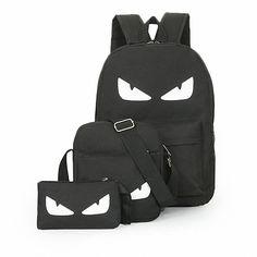 3 개/대 여자 남자 발광 블랙 배낭 캔버스 학교 책 가방 컴퓨터 배낭 여성 학생 가방 대용량 mochila