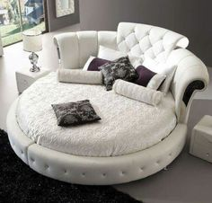 Bedroom, Glamorous Circle Bed Unique Round Inspiration Design Rugs Flower Designs Gorgeous White Bedding And Leather Frame Also Black Fur Rug Well 2016 Double With Price In Pakistan For Sale: round bed designs Bedroom Furniture, Home Furniture, Furniture Design, Bedroom Decor, Antique Furniture, Furniture Ideas, Bedroom Ideas, Furniture Dolly, Furniture Removal