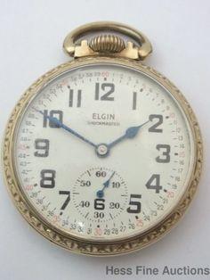 Elgin Shockmaster 17J 657 1970s Railroad Style Montgomery Dial Pocket Watch #Elgin