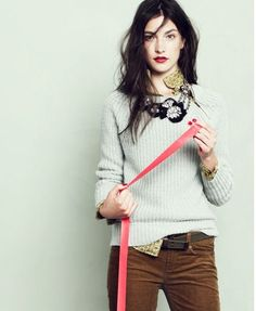 sweater , blouse and necklace casual style