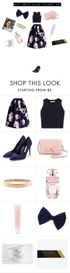 """Blair Waldorf"" by jxfxkx ❤ liked on Polyvore featuring Chicwish, Elizabeth and James, Rupert Sanderson, Ted Baker, Chanel, Elie Saab, Lancôme, GetTheLook, outfit and gossipgirl"