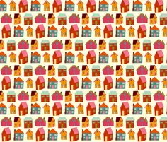 little houses fabric by heidikenney on Spoonflower - custom fabric