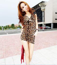Korean Fashion Leopard V-Neck Lace Sexy Slim Dress