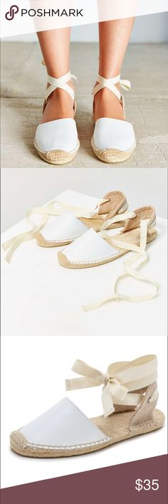 Ribbon sandals 🎀 Brand new Soludos espadrille sandals. White leather on the front. Never worn! Size 9. Soludos Shoes Espadrilles