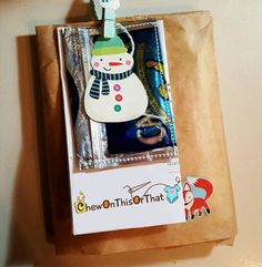 Recent notebook order that I mailed out. #etsy #giftpackaging #snowman #clothespin #gifttag #chewonthisorthat
