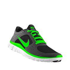 buy popular 0bc5b 4ca97 Custom Nike Free Run 3 Shield iD Womens Running Shoe Neon Nike Shoes,