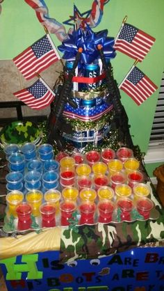 Welcome home party for soldier American JELLO shots.. blueberry flavor, strawberry flavor, and pineapple. or if theirs clear jello you can use that as well..