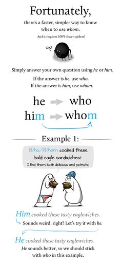 How and why to use whom in a sentence via The Oatmeal